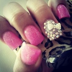 Pink glitter+ silver with bow tie