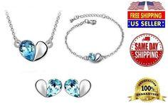 fashion Crystal Jewelry Sets Trio Set Necklace & Earring & Bracelet #Beifu