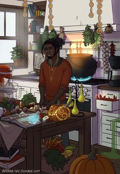 """brenna-ivy:  """" It is done! The Modern Male Witch: Kitchen is here! :D  He is a bit messy, but he can always find what he's looking for, even when some things in his kitchen get a mind of their own...."""