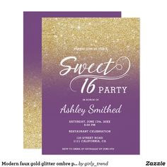 Modern faux gold glitter ombre purple Sweet 16 Card A modern, pretty faux gold glitter shower ombre with purple color block Sweet 16 birthday party invitation with elegant typography with gold ombre pattern fading onto a customizable background. Perfect for a princess Sweet sixteen.