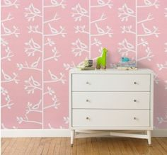 Sparrow Petal Wallpaper by Dwell Studio - A clean and chic aviary motif—the simplicity of this pattern maintains an understated style. The repeating sparrows and trees add an element of graphic sophistication to the nursery or children's room. Kids Wall Decor, Baby Decor, Room Decor, Toddler Rooms, Kids Rooms, Toddler Girls, Baby Girls, Kids Wallpaper, Modern Kids
