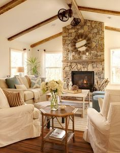 Beautiful Farmhouse Living Room Ideas! Find some of the best farmhouse themed living room decorations and designs that you can use for inspiration. We have modern farm home living rooms and more. Coastal Living Rooms, Home Living Room, Living Room Designs, Living Room Decor, Cozy Living, Dining Room, Small Living, Living Spaces, Rustic Sunroom