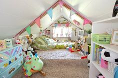 Turn attic into a play room, except I don't plan on having an attic, but I will hopefully have a basement, so that would work the same