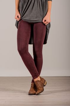 RubyClaire Boutique - Shirring Leggings | Burgundy, $32.00 (https://www.rubyclaireboutique.com/shirring-leggings-burgundy/)