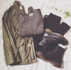 Grey Sweater x Green Military Jacket x DocMartens x Black Denim Skirt Instead