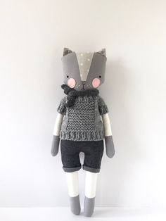 luckyjuju kitty boy - STANDING style with handknit sweater by luckyjuju on Etsy https://www.etsy.com/listing/292406393/luckyjuju-kitty-boy-standing-style-with
