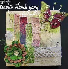 Altered Gelli Plate mini canvas using Lindy's Stamp Gang.
