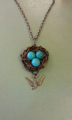 Wire Wrapped Robin Nest Pendant Turquoise Eggs by cottagecharm951, $14.99