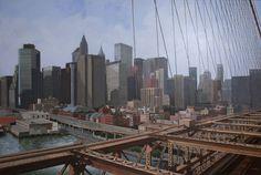 cuadro.El puente de Brooklyn.  www.Palomaescudero.com New York Skyline, Travel, Brooklyn Bridge, Point Of Sale, Bridges, Picture Wall, Urban, Black, Viajes