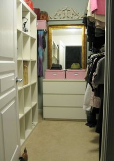 Small Walk In Closet Design Ideas, Pictures, Remodel, and Decor - page 4 ** I have that Ikea shelf to the left already.  I was wondering what I could do with it when I don't need it for toys in my den.