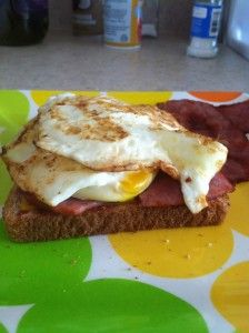 Hangover cure sandwich- grape jelly, cheddar cheese, bacon, eggs