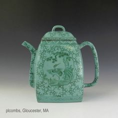 19th C. Chinese Yixing Teapot With Enamel Decoration and Script  , Sold on eBay, http://www.bidamount.com/