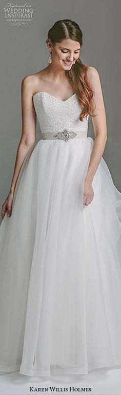 karen willis holmes bridal 2015 bespoke beautiful A-line wedding dress strapless gown paige with train front #pretty #weddingdress #weddingdresses