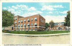Elkhart Indiana IN 1920s Elkhart General Hospital Nurses Home Vintage Postcard