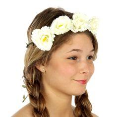 wholesale N34 Flower accent wreath headband Ivory Wholesale Hair Accessories, Ivory, Wreaths, Flowers, Door Wreaths, Deco Mesh Wreaths, Royal Icing Flowers, Floral, Florals