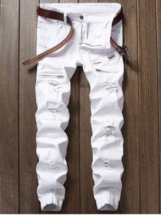 Zipper Fly Panel Design Beam Feet Distressed Jeans