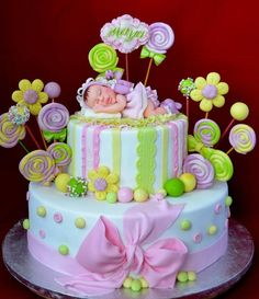 Baby Girl Shower Cake  ~ hand molded and all edible