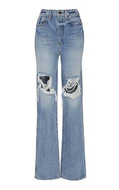 Danielle Distressed High-Rise Straight-Leg Jeans by KHAITE Now Available on Moda Operandi Normal Models, High Rise Boyfriend Jeans, Designer Jeans For Women, Designer Clothing, Women's Clothing, Painted Jeans, Light Blue Jeans, Cute Jeans, Women's Jeans