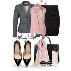 Pink grey black office