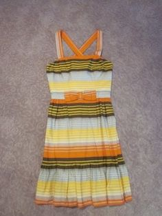 French Connection short dress Orange, Brown, Yellow Striped Summer Bow on Tradesy