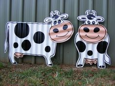 * Cute Cows / Recycled Corrugated Iron / Garden Ornament Yard Art Sculpture ^