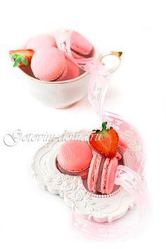 Рецепт: Клубничные макаронс на итальянской меренге (Macarons a la fraise)