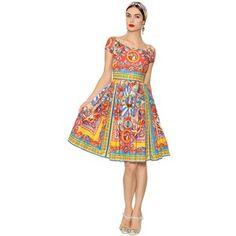 Dolce & Gabbana Women Carretto Printed Cotton Poplin Dress