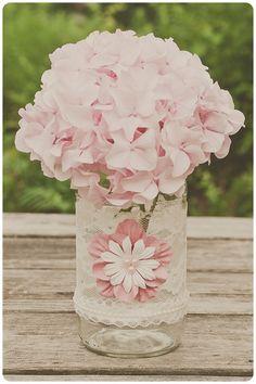 Lace wedding vase.