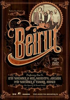 Vintage poster design for Beirut. Vintage Typography, Typography Letters, Typography Design, Lettering, Tour Posters, Band Posters, Event Posters, Music Posters, Beirut