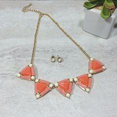 Triangles Necklace In Orange