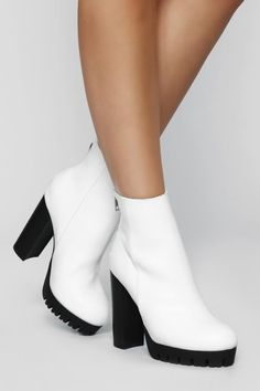 Do The Talking Bootie - White – Fashion Nova White Heel Boots, Black Booties, Heeled Boots, Women's Boots, White Block Heels, Black And White Heels, Black Brown Hair, Grunge Boots, Platform Block Heels