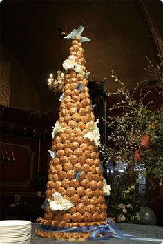Traditional French centerpiece at weddings. Made of sugar, almonds, profiterole (Choux pastry filled with flavoured pastry cream) and caramel.