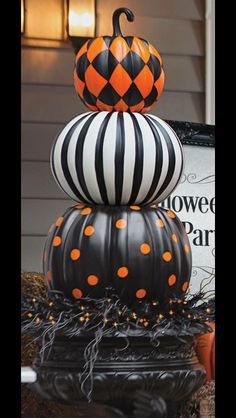 put a designer spin on decorating with gourds our halloween stacked pumpkins are both witty and stylish halloween haven by grandin road - How To Preserve Halloween Pumpkin
