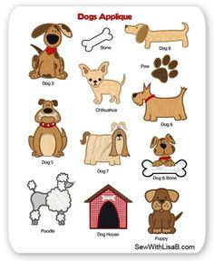 Dogs Embroidery Applique Layout