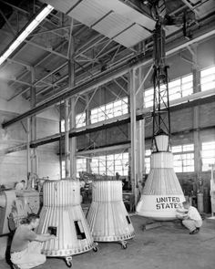 "Boilerplate Mercury spacecraft being manufactured ""in-house"" by Langley technicians. The capsules were designed to test spacecraft recovery systems. The escape tower and rocket motors shown on the completed capsule would be removed before shipping and finally assembly for launching at Wallops Island. Design of the Little Joe capsules began at Langley before McDonnell started on the design of the Mercury capsule. (Great Images in NASA)"