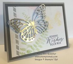 SU! Butterfly Basics stamp set; Butterfly Thinlets; Pear Pizzazz, So Saffron, Smoky Slate, Pink Pirouette and Basic Gray ink; Smoky Slate, Basic Gray and Whisper White cardstock; Silver Foil - Mary Ann Rossiter