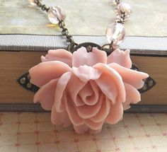 Pink Rose Necklace in Soft Vintage Pink with Antique Brass and Czech Glass Bead Details via Etsy
