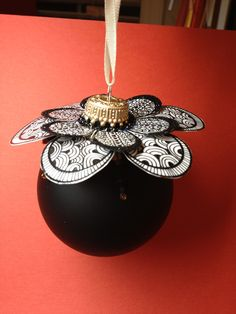 Zentangle insprired, hand drawn and beaded rubber stamped Christmas ornament