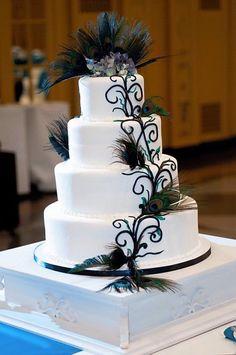 Twenties peacok Cake Ideas   Peacock Wedding Invitations and Wedding Ideas #elegantweddinginvites