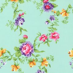 Organic cotton fabric - Roses Mint - Sew Natural