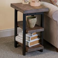 Features: -Exquisite workmanship of solid wood tops with metal legs that will last for years to come. -Rustic natural finish provides a warm, yet elegant home feeling. -End table with two shelves t