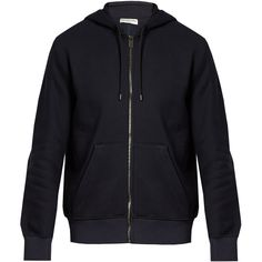 Balenciaga Logo-intarsia hem cotton-jersey hooded sweatshirt ($695) ❤ liked on Polyvore featuring men's fashion, men's clothing, men's hoodies and balenciaga