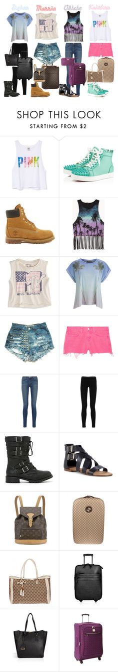 """""""The Clique- Plane Ride"""" by daniellenicole ❤ liked on Polyvore featuring Victoria's Secret, Christian Louboutin, Timberland, Forever 21, American Eagle Outfitters, Louis Vuitton, Wildfox, J Brand, Emilio Pucci and Shoe Cult"""