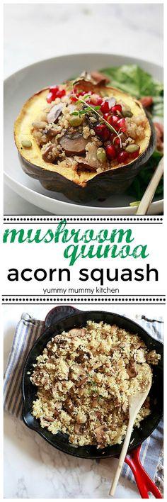 Mushroom Quinoa Stuffed Acorn Squash. Delicious vegan, vegetarian, and gluten free autumn dinner. This recipe is perfect for a vegetarian Thanksgiving.
