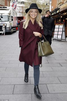 Looking good: Emma Bunton was seen emerging from Heart Radio studios in Leicester Square, where she cut an effortlessly festive figure on Tuesday