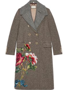 Shop Gucci Sequin embroidered wool coat.
