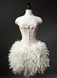 Custom Size Peach and Ivory Burlesque Feather Corset Dress