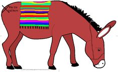 Pin the Tail on the Donkey – coloured // usually we draw our own donkey to pin -- object (fun) lesson to remember Yeshua riding the donkey