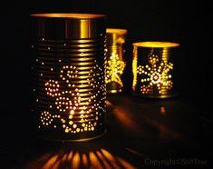 DIY Soup Can Luminaries... do any shapes, halloween, winter.....