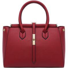 SheIn(sheinside) Red Zipper PU Shoulder Bag (€24) ❤ liked on Polyvore featuring bags, handbags, shoulder bags, red, pu purse, red studded purse, pu handbag, red purse and convertible handbag
